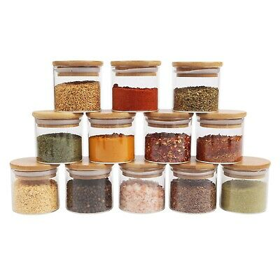 Small Glass Canister With Natural Bamboo Lid, Airtight Sealing, Mini Spice Jars • 30.95£