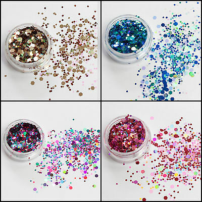 Chunky Mixed Glitter Pot-Nail Face Eye Body Tattoo Festival Dance Club Cosmetic • 1.75£