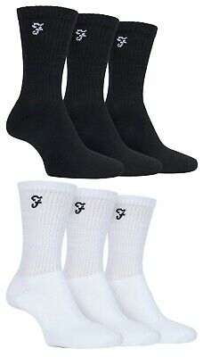 Farah 3 Pack Of Mens Cotton Cushioned Foot Athletic Performance Sport Crew Socks • 6.99£