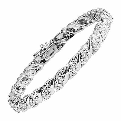 View Details 1 Ct Diamond Tennis Bracelet In Sterling Silver Plated Brass, 7.5  • 124.00$