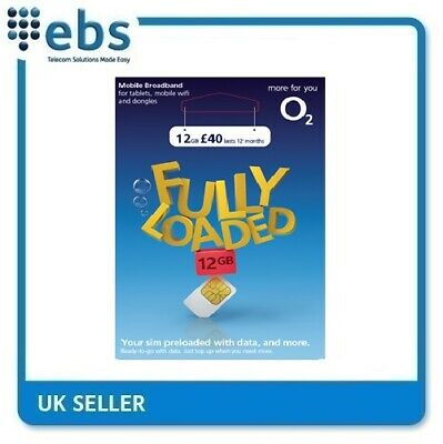 £38.95 • Buy O2 Data Sim Preloaded With 12GB Data - For Tablets And Mobile WiFi Devices
