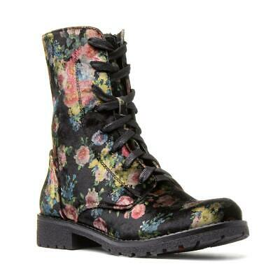 Womens Floral Ankle Boots Ladies Lace Up Biker Winter Heavenly Feet Chloe Boot • 54.99£
