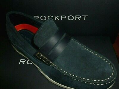 Rockport Mens Penny Loafer Shoes Leather Navy Blue Cullen Ch3802 New Boxed • 39.99£