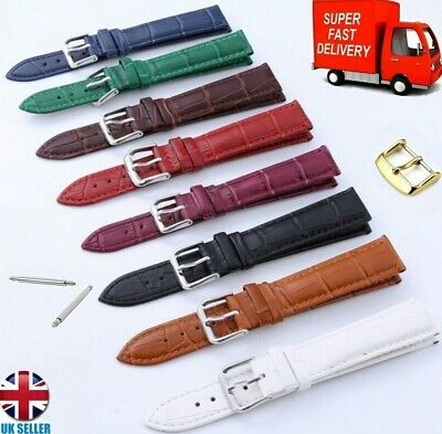 £3.99 • Buy Leather Black Brown Blue Red White Purple Tan Watch Strap12-14-18-16-20-22mm