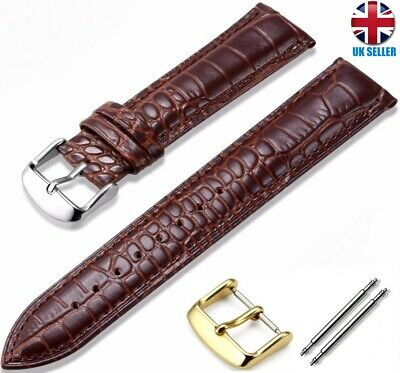 HIGH QUALITY GENUINE COW LEATHER CROCODILE WATCH STRAP SIZE 16-18-20-22MM Omega • 4.25£