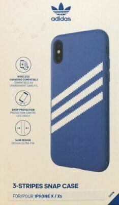 AU13.11 • Buy Adidas 3 Stripes Snap Case For IPhone X / XS - Blue 5.8 Faux Leather Apple New