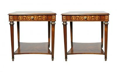 Pair French Empire Marquetry Inlay Side Tables • 2,200£