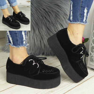 £19.95 • Buy Ladies Creepers Trainers Womens Goth Punk Lace Up Flat Platform Pumps Shoes Size