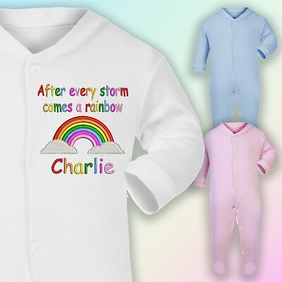 After Every Storm Comes A Rainbow Embroidered Baby Sleepsuit Gift Personalised • 9£