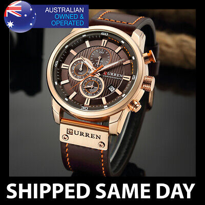 AU34.95 • Buy 291 CURREN MENS FASHION DRESS WATCH Gold Waterproof Water Resistant Business 75