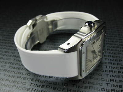 £24.28 • Buy 24.5mm PU Rubber Strap CARTIER SANTOS 100 Chronograph Diver Watch Band White X1