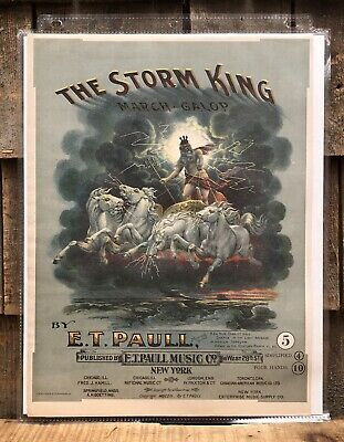 $125 • Buy RARE 1900s Chromolithograph Print E.T Paull Music Sheet Sample THE STORM KING