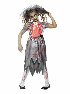 Girls Kids Zombie Corpse Bride Gothic Halloween Fancy Dress Costume Outfit • 18.49£