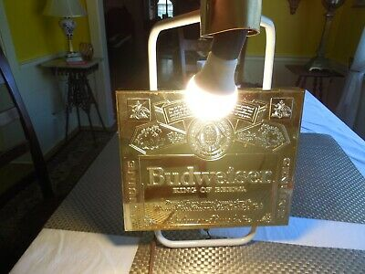 $ CDN11.25 • Buy Vintage BUDWEISER Beer Light Wall Lamp Sign Gold Toned, Working!