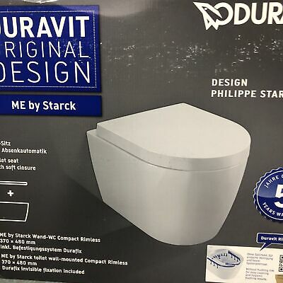 £339.90 • Buy DURAVIT ME By STARCK Wall Hung Toilet Rimless Compact WC Soft Closing 45300900A1