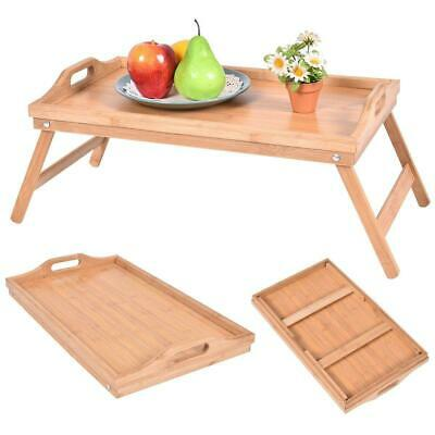 $15.99 • Buy Portable Bamboo Breakfast Bed Tray Serving Laptop Table Folding Leg W/ Handle