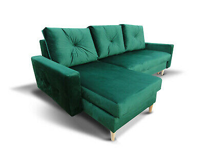 Corner Sofa Bed Storage Sprung Seat Green Fabric Quilted Cushions FREE Assembly  • 395£