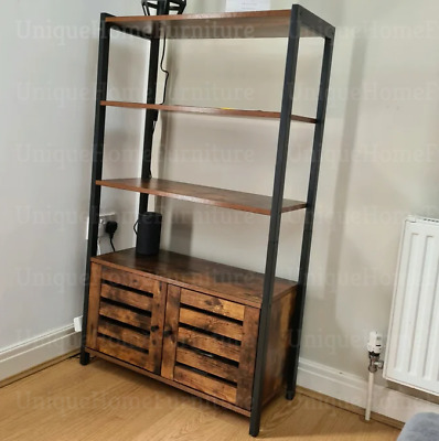 Vintage Industrial Bookcase Tall Side Cabinet Storage Shelving Unit Rustic Metal • 106.60£
