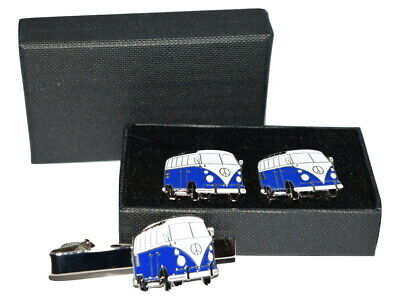 £13.99 • Buy Dark Blue Camper Van Cufflinks & Tie Clip Set. Wedding Gift Boxed Enamel Navy