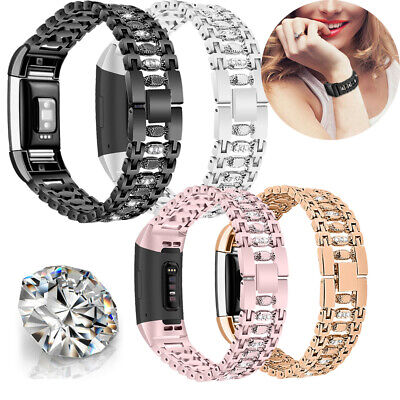 $ CDN12.46 • Buy For Fitbit Charge 2 Diamond Crystal Strap Stainless Steel Watch Band Wristband