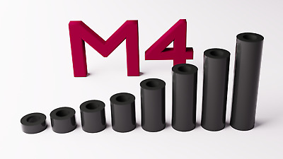 M4 Black Plastic Spacers Standoff Washer Nylon 3mm To 30mm Choice Of Quantity. • 2.50£