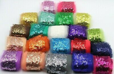 2 M Sparkling Sequenced Net Lace Bridal Sew On  3.5 Cm Width Trim,embellishment • 3.49£