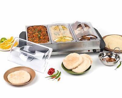 £39.99 • Buy 300W Stainless Steel 4.5L Buffet Server - With 3 Section - Food Warmer Hot Plate