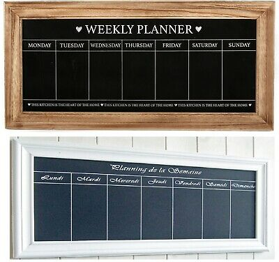 Vintage Wall Mounted Weekly  Planner Shabby Chic Chalkboard - English Or French • 14.99£