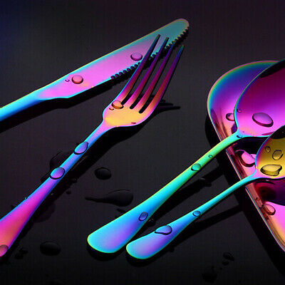£5.22 • Buy Rainbow Stainless Steel Cutlery Sets Colorful Iridescent Forks 4 Piece/Set UK