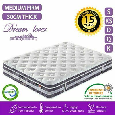 AU144.42 • Buy QUEEN KING SINGLE DOUBLE Mattress Bed Euro Top Pocket Spring 4 Size AU STOCK