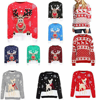 Kids Girls Boys Xmas Jumper Rudolph Reindeer Snowflakes Bambi Christmas Jumpers  • 12.99£
