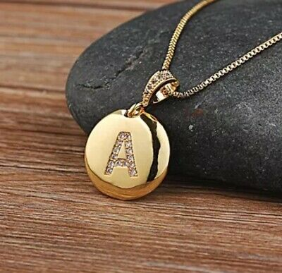 £3.99 • Buy Gold Plated Initial Letter  A To Z Pendant Necklace Disk Alphabet Cz Charm