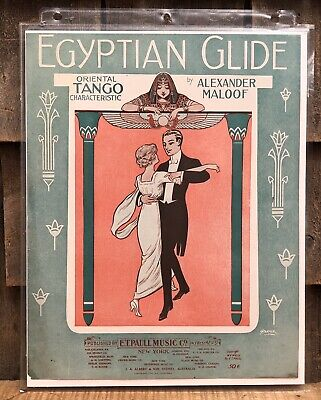 $125 • Buy RARE 1900 Chromolithograph Print E.T Paull Music Sheet Sample EGYPTIAN GLIDE