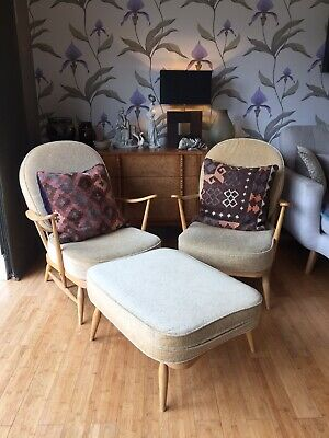 Pair Of Ercol Windsor Armchairs Arm Chair & Footstool. Mid 20thC 1960's Vintage • 805£
