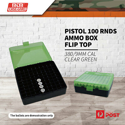 AU18.30 • Buy Mtm Pistol 100 Rnds Ammo Box Flip Top 380/9Mm Cal Clear Green #p-100-9-16T