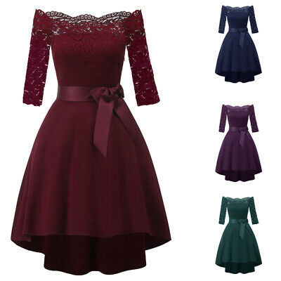 Women's Evening Party Lace Gown Dress Formal High Low Wedding Bridesmaid Dresses • 19.64£