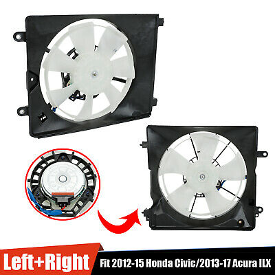 $60.99 • Buy Pair A/C AC Condenser Radiator Cooling Fan Fit 2012-15 Honda Civic 2013-17 Acura