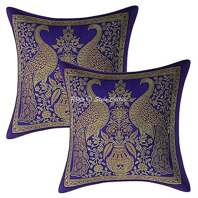 Traditional Cushion Covers 12 X 12 Blue Brocade Peacock Set Of 2 Pillowcases • 10.96£