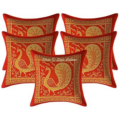 Bohemian Cushion Covers 30x30 Cm Red Brocade Dancing Peacock Set Of 5 Pillowcase • 16.96£