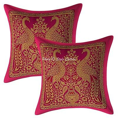 Ethnic Cushion Covers 12 X 12 Magenta Brocade Peacock Set Of 2 Boho Pillowcases • 10.96£