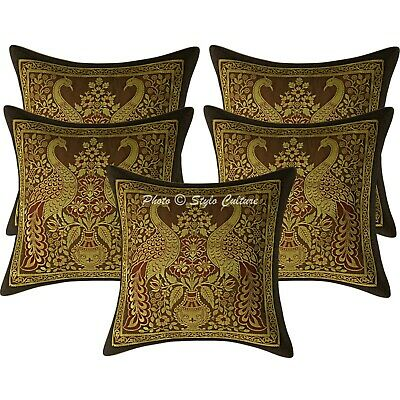 Indian Cushion Covers 30x30 Cm Coffee Brocade Peacock Set Of 5 Boho Pillowcases • 16.96£