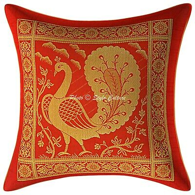 Ethnic Cushion Cover 12x12 Red Brocade Dancing Peacock 1 Pc Scatter Pillowcase • 7.96£