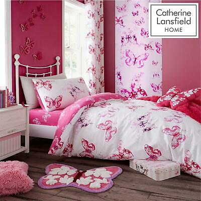 £18.99 • Buy Catherine Lansfield Kids Buttefly Pink Duvet Set Reversible Bedding Curtain