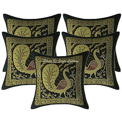 Decorative Cushion Covers 30x30 Cm Brocade Dancing Peacock Set Of 5 Pillowcase • 16.96£
