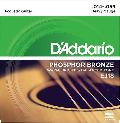 $ CDN10.96 • Buy D'Addario EJ18 Phosphor Bronze Heavy 14-59 Acoustic Guitar Strings