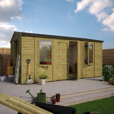 16x10 Wooden Garden Workshop Office Shed Extra Tall Apex Tongue And Groove Wall • 2,785£