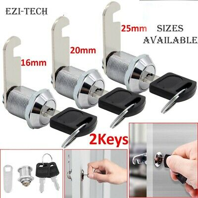 16,20,25mm Cam Lock+2 Keys For Door Cabinet Mailbox Post Box Drawer Cupboard • 2.50£