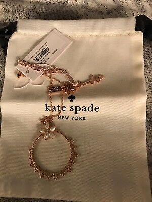 $ CDN36.48 • Buy Kate Spade Chantilly Charm Mini Pendant Necklace Rose Gold W Jewelry Bag NEW