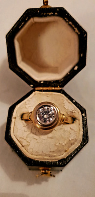 AU1900 • Buy Solitaire Diamond Ring .51 Ct Bezel Set 18K White And Yellow Gold