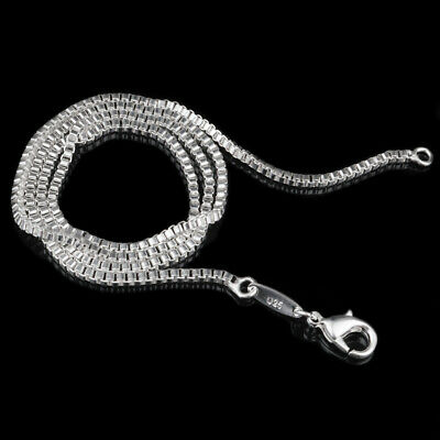 $5.39 • Buy 925 Silver Plated 2 Mm Box Chain Men's Women's Necklace 16  18  20  22  24